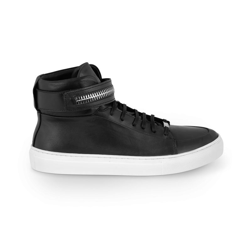Black And White Leather Sneaker Side
