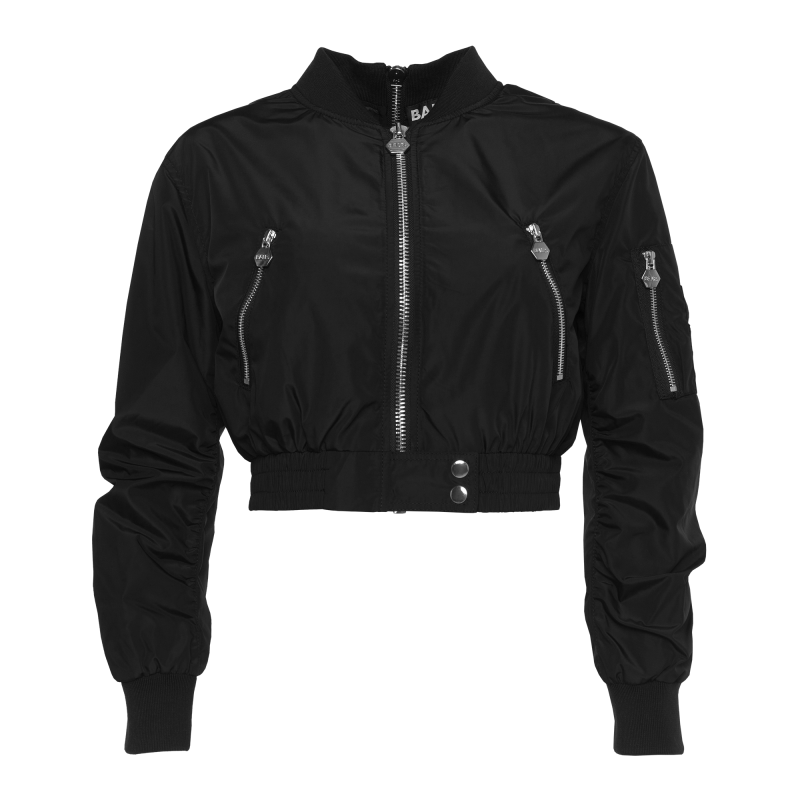Women Double Zipped Bomber Black