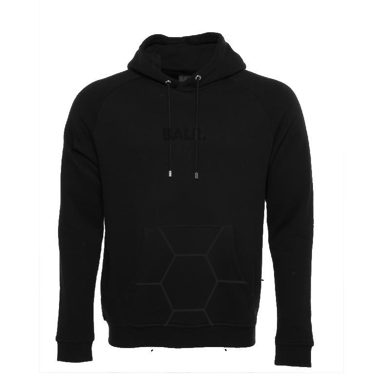 BALR. Black on Black Panel Hoodie Front