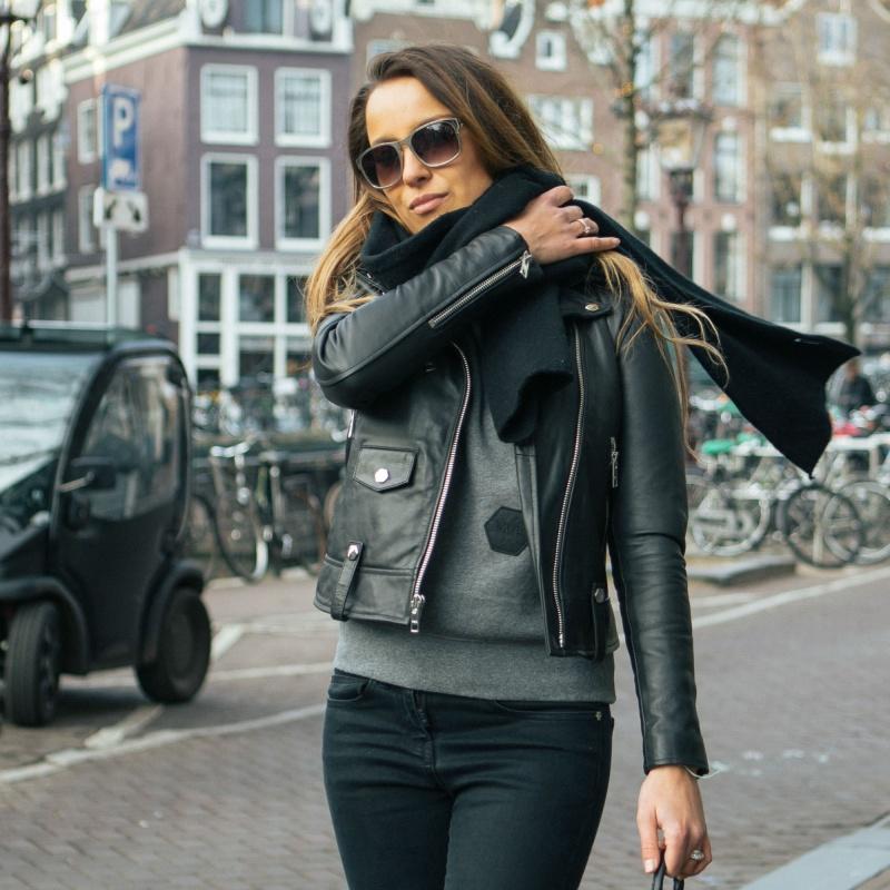 Women Leather Biker Jacket Lifestyle