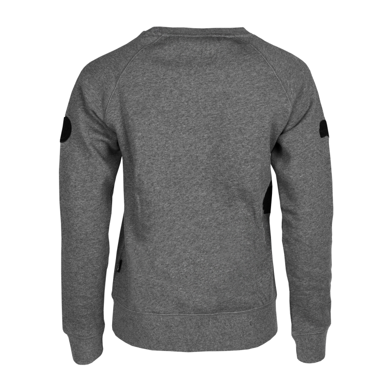 Women Patch Crew Neck Grey Back