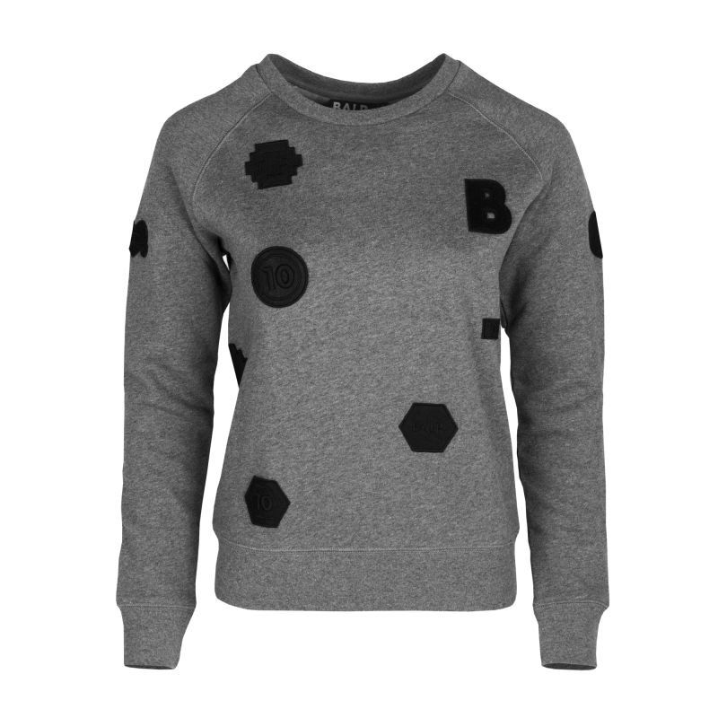 Women Patch Crew Neck Grey Front