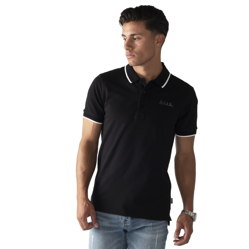 BALR. Brand Metal Logo Polo Shirt Black Lifestyle