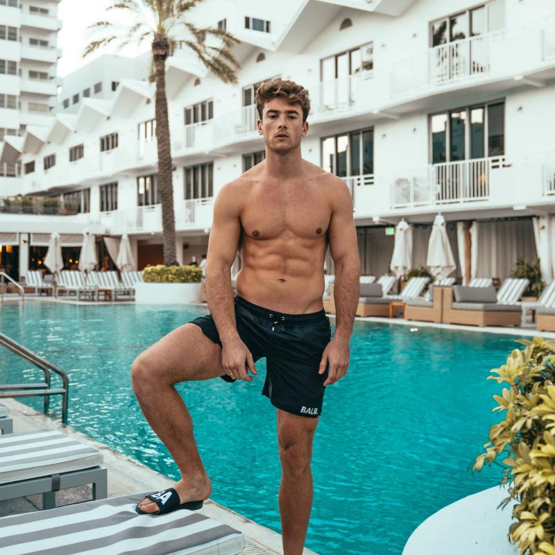 BALR. Mid-Length Swim Shorts Black Lifestyle