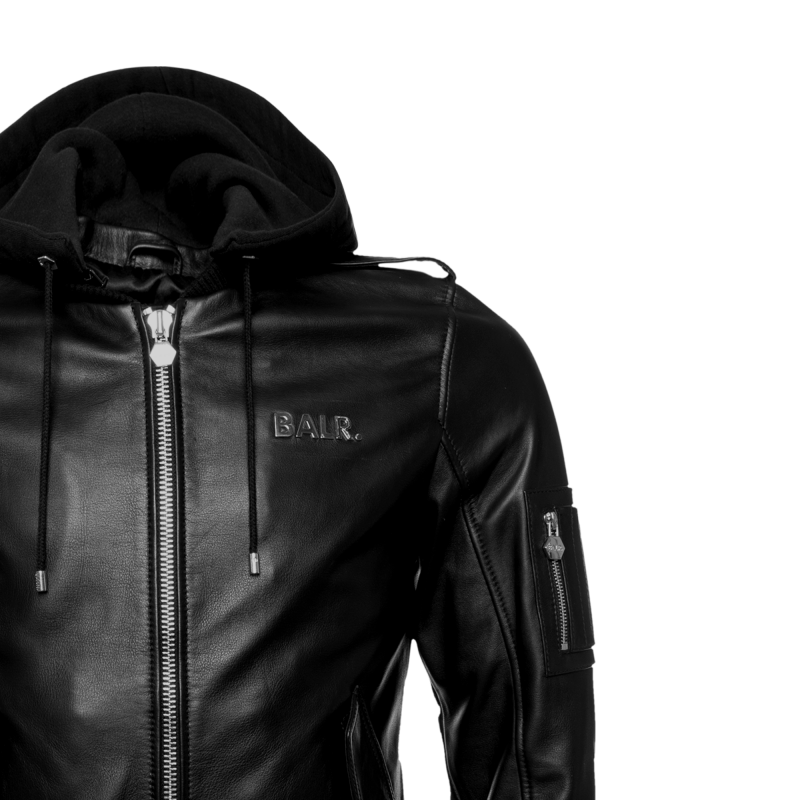 BALR. Hooded Leather Bomber Jacket Detail 1