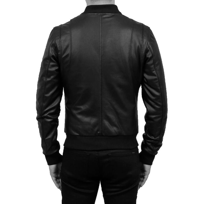 Leather Bomber Jacket Back