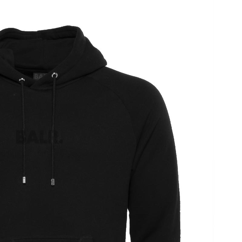 BALR. Black on Black Panel Hoodie Detail 1