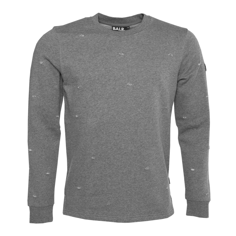 Distressed Crew Neck Sweater Grey Front