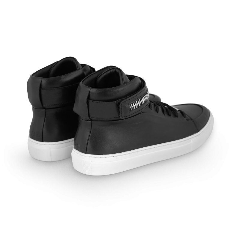 Black And White Leather Sneaker Back