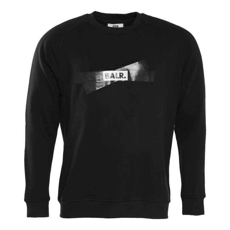 Tape Logo Crewneck Sweater Black Front