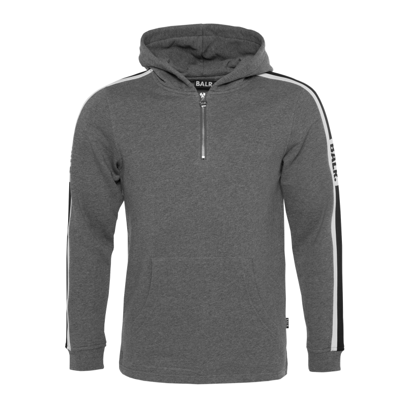 Webbing-Trimmed Hoodie Grey Front