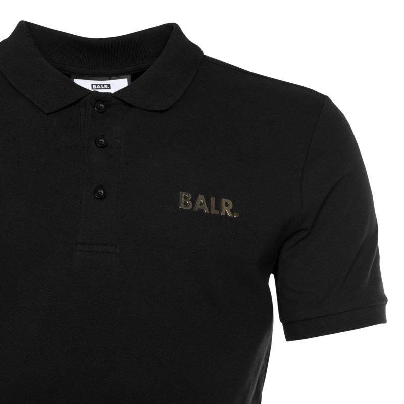 BALR. Gold Metal Plate Polo Shirt Black