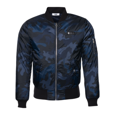 Gun Metal Badge Camo Bomber Jacket Marineblauw