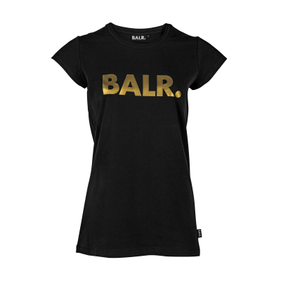 Women Brand T-Shirt Black & Gold
