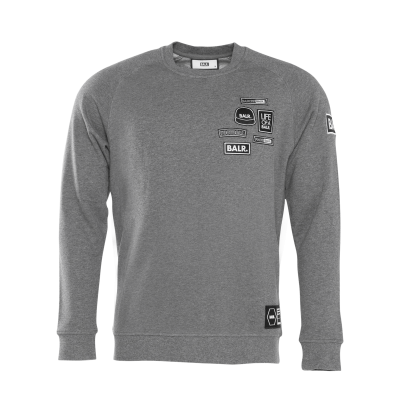 BALR. Badge Crew Neck Sweater Grijs