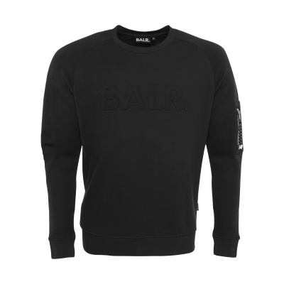 Embossed Cord Crew Neck zwart