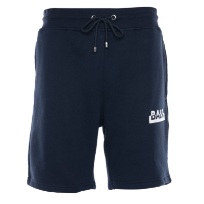 Contrasting Logo Straight Shorts Navy
