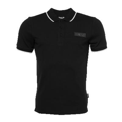 Brand Metal Badge Polo Shirt Black