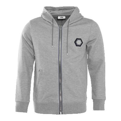 Q-Series Metal Hexagon Badge Zipped Hoodie Grey