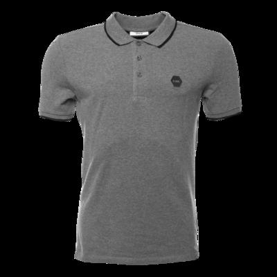 Hexagon Badge Polo Shirt Grey