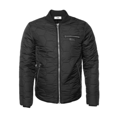 Gun Metal Badge Hexagon Down Jacket Black