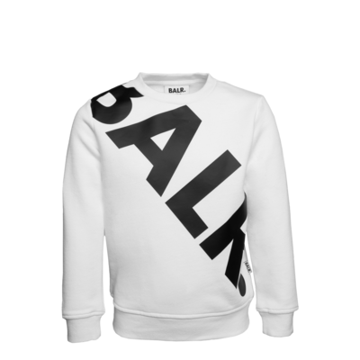 Tilted Logo Crew Neck Sweater Kids White
