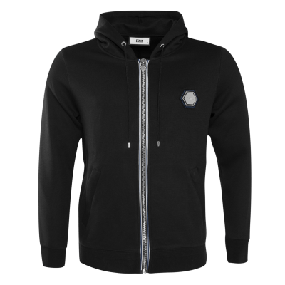 Q-Series Metal Hexagon Badge Zipped Hoodie Zwart