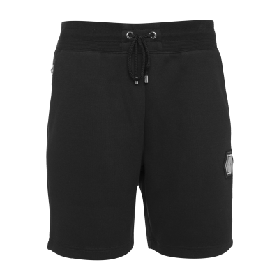 Q-Series Metal Hexagon Badge Shorts Zwart