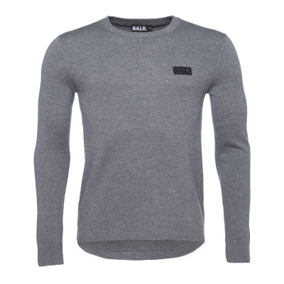 Zipped Knitted Crew Neck Sweater Grijs