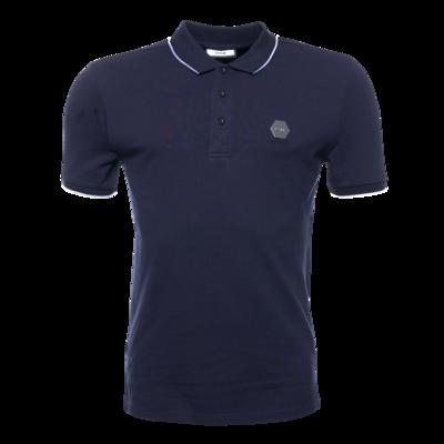 Hexagon Badge Polo Shirt Marineblauw