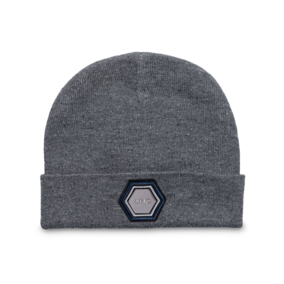 Metal Hexagon Badge Beanie Grau