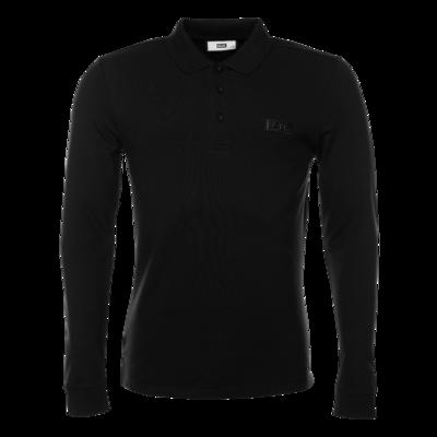 Gun Metal Badge Longsleeve Polo Shirt Zwart