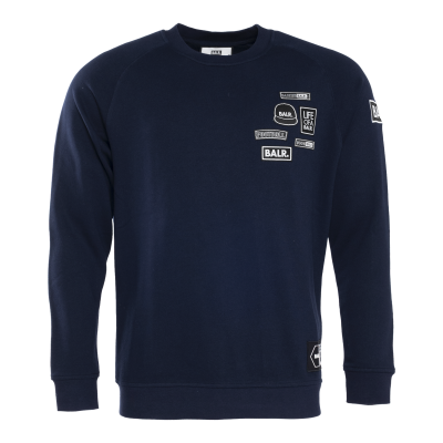 BALR. Badge Crew Neck Sweater Marineblauw