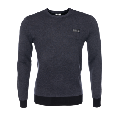 Gun Metal Badge Crew Neck Sweater Grijs