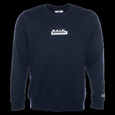 Contrasting Logo Straight Crew Neck Sweater Navy