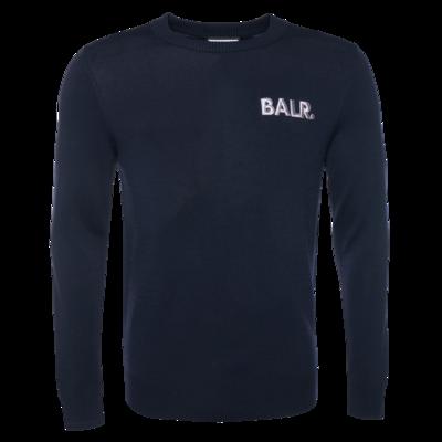 BALR. Big Logo Knit Straight Crew Neck Sweater Navy
