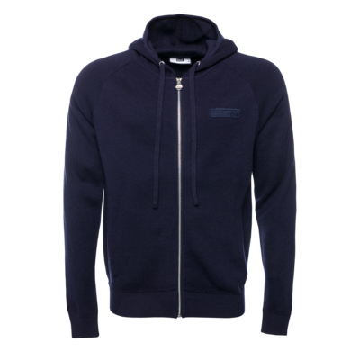 Knitted Hexagon Zipped Hoodie Marineblauw