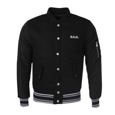Striped Baseball Jacket Black