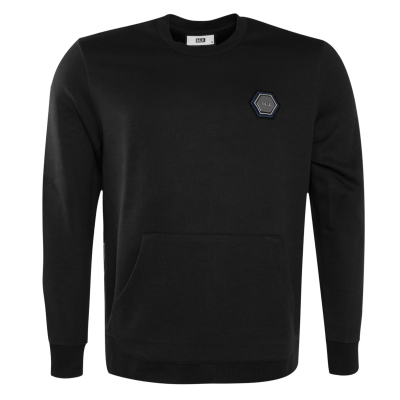 Q-Series Metal Hexagon Badge Crew Neck Sweater Zwart