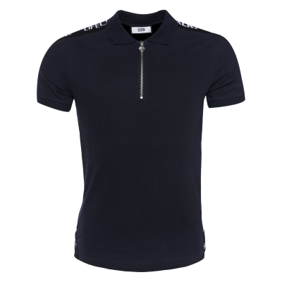 LOAB Webbing-Trimmed Polo Shirt Navy