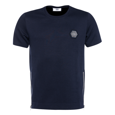 Q-Series Metal Hexagon Badge T-Shirt Marineblauw