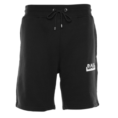 Contrasting Logo Straight Shorts Black