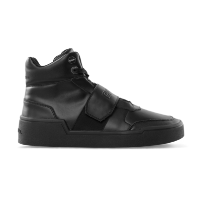 Leather Big Strap Sneaker High Schwarz