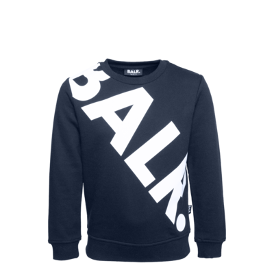 Tilted Logo Crew Neck Sweater Kids Navy
