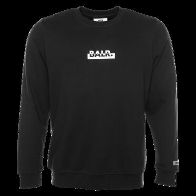 Contrasting Logo Straight Crew Neck Sweater Black