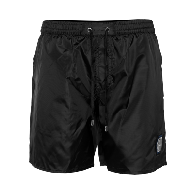 Metal Hexagon Badge Swim Shorts Zwart