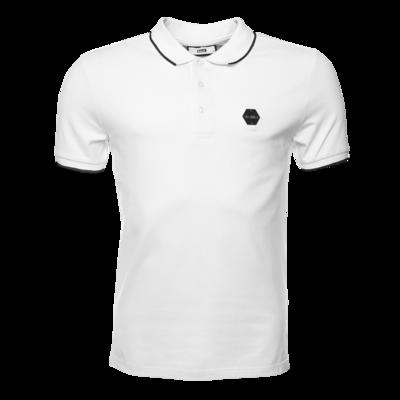 Hexagon Badge Polo Shirt White
