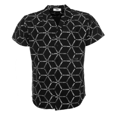 BALR. hexagon AOP straight shirt short sleeved Black