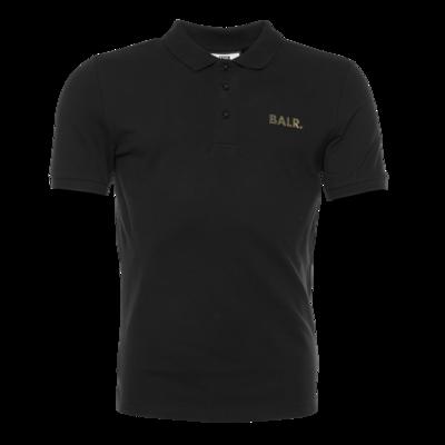 Brand Gold Metal Logo Polo Shirt Zwart
