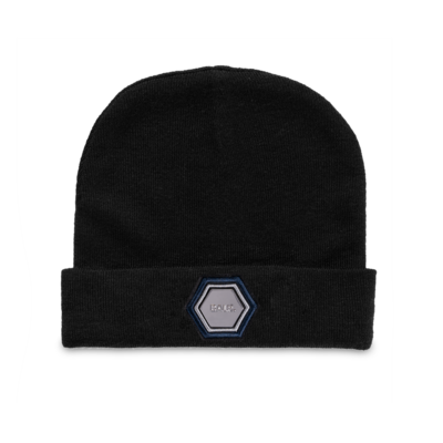Metal Hexagon Badge Beanie Zwart